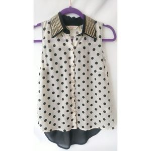 Annabelle sheer polka dot studded detail
